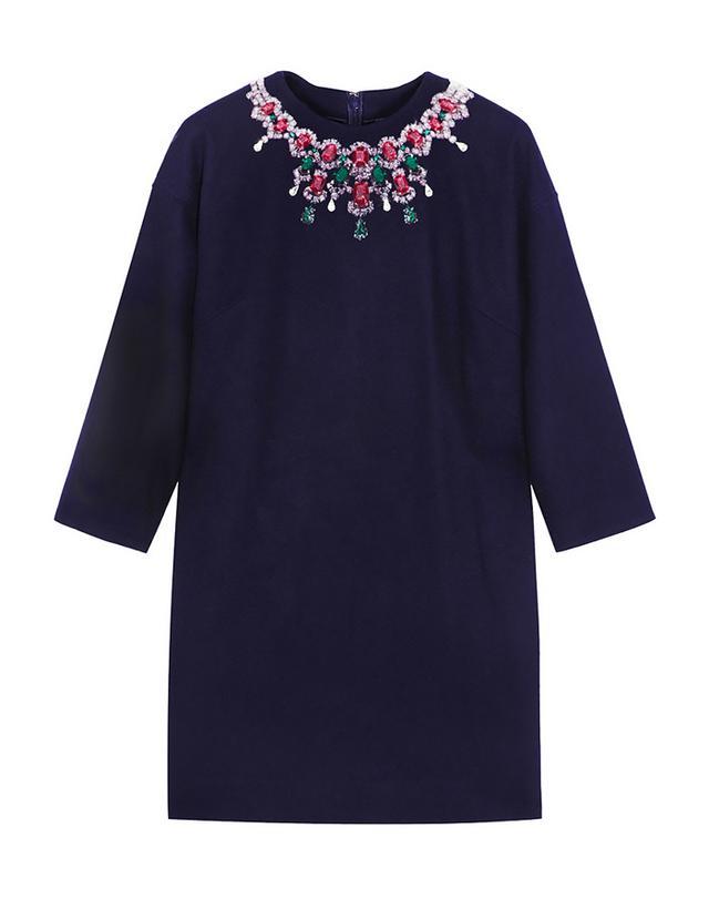 Sacai Luck Appliqued Wool-Blend Felt Mini Dress