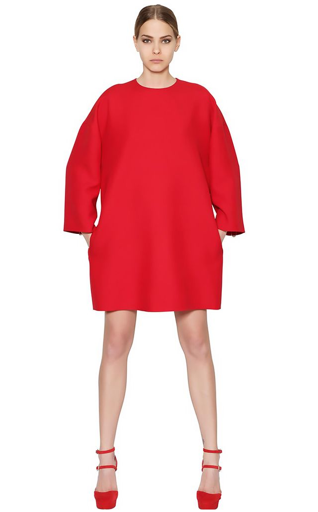 Valentino Long Sleeve Wool Crepe Cocoon Dress