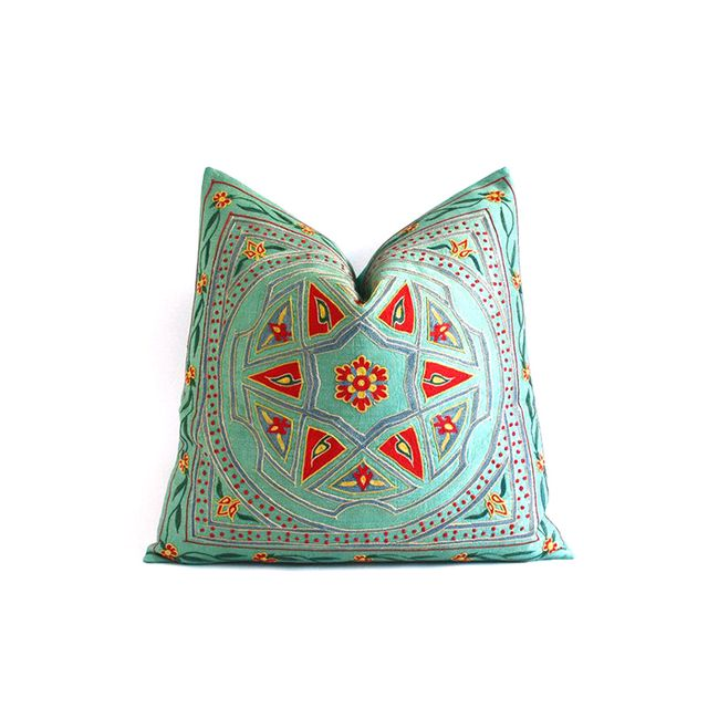 Sukan Vintage Uzbek Suzani Floral Throw Pillow