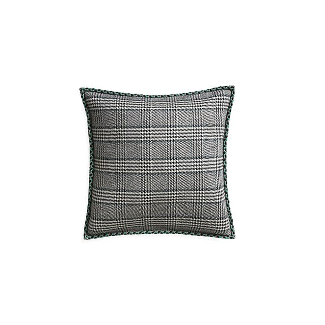 Crate & Barrel Jade Plaid Pillow