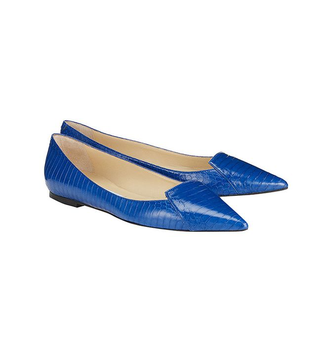 Jimmy Choo Attila Aegean Panelled Elaphe Pointy Toe Flats