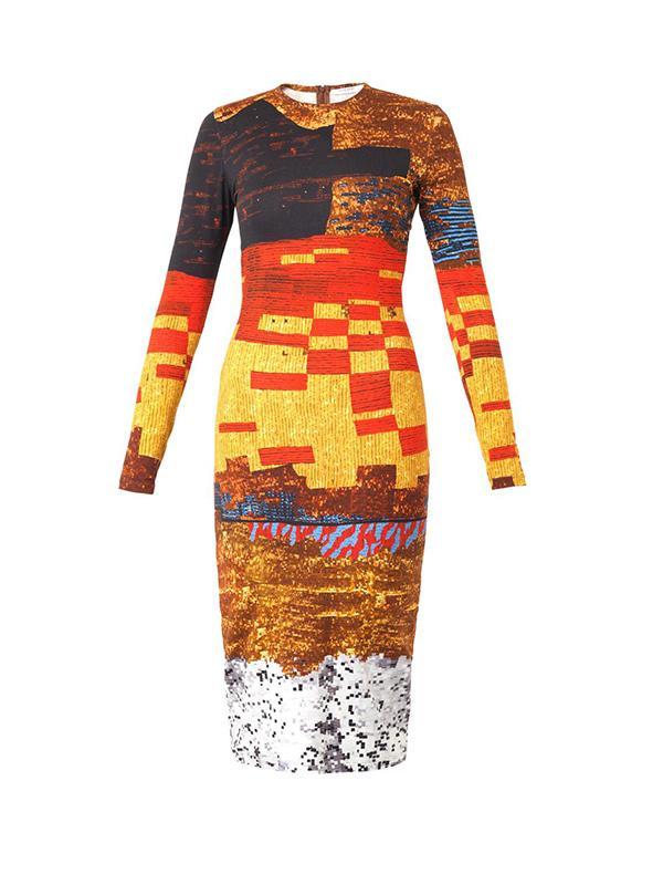 Givenchy Pixelated Mosaic-Print Jersey Dress