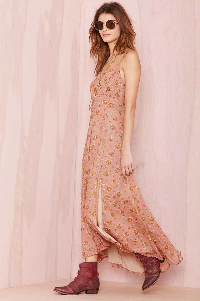 Nasty Gal Line and Dot Reality Bites Maxi Dress