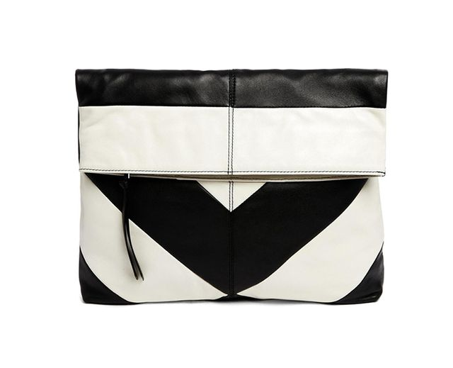 ASOS Oversized Leather Striped Foldover Clutch Bag
