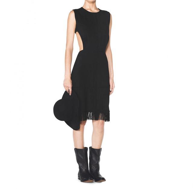 Tamara Mellon Suede Fringe Cut Out Dress
