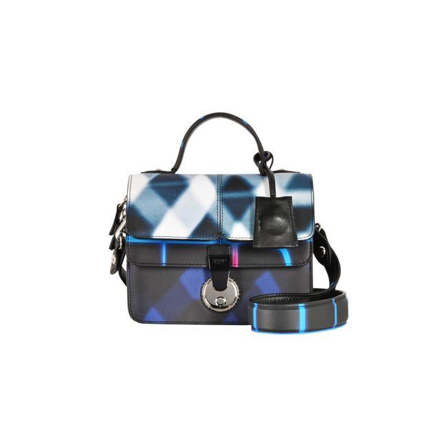 Kenzo Neon Plaid Le Dix-Huit Small Satchel