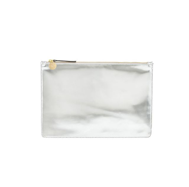 Clare V. Mirror Metallic Flat Clutch Bag