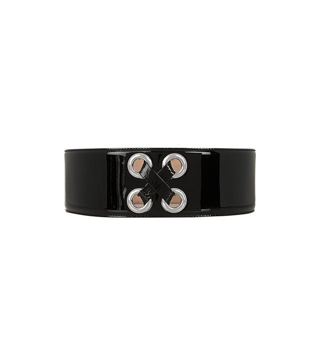Alexander McQueen Eyelet-Embellished Patenet-Leather Waist Belt