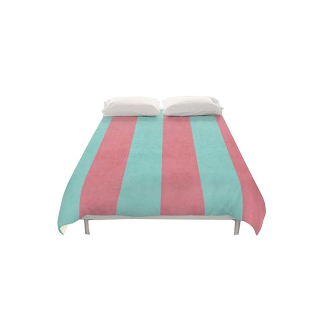 Society 6 Vintage Coral and Teal Striped Duvet Cover