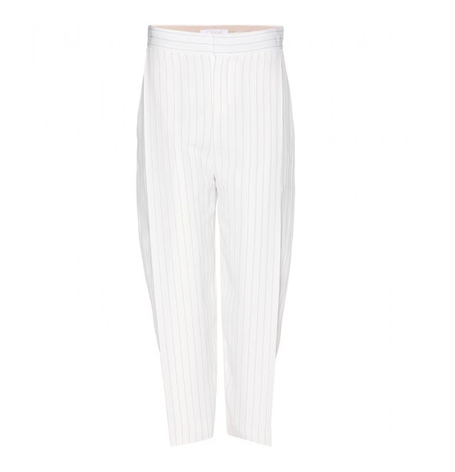 Chloé Pinstriped Crepe Trousers