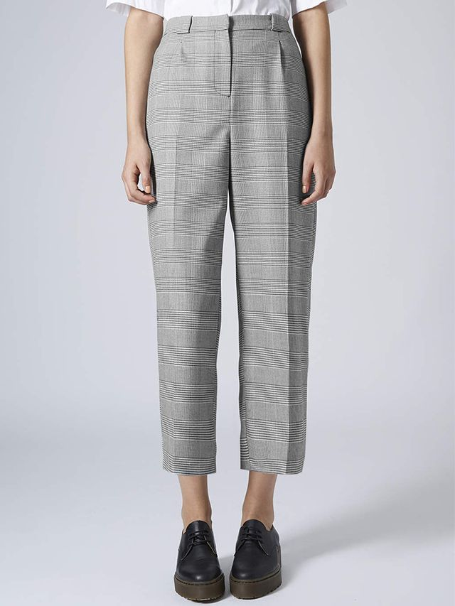 Topshop Prince of Wales Check Wide Leg Trousers