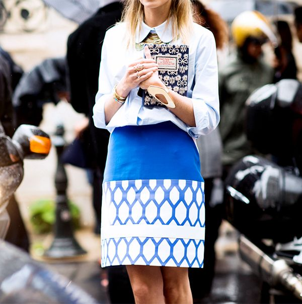 Test out a printed pencil skirt.