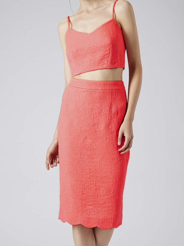 Topshop Puffy Jacquard Bralet and Pencil Skirt