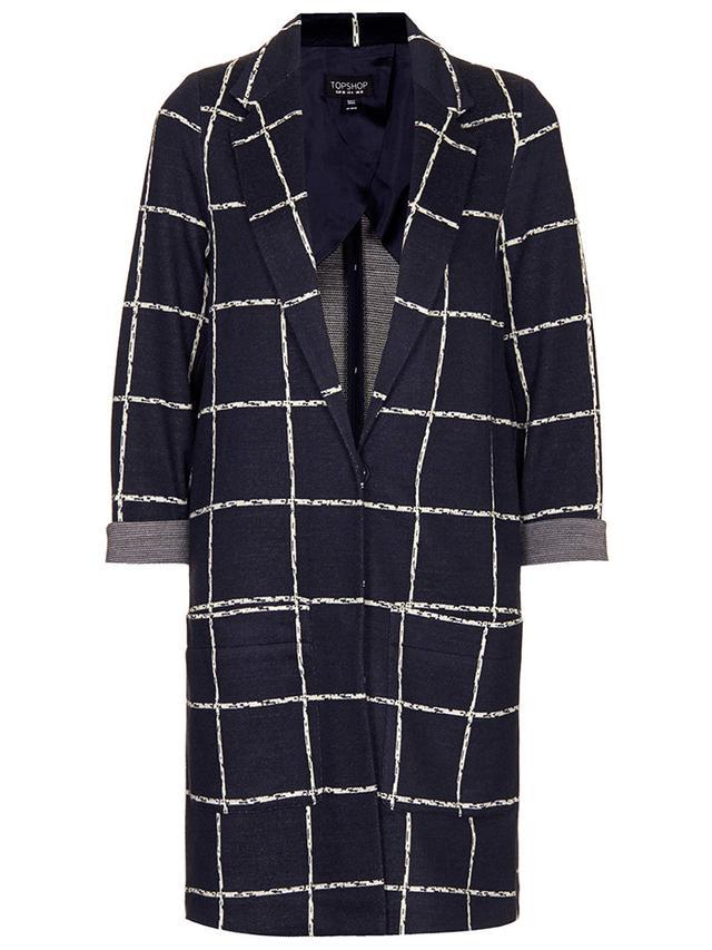 Topshop Check Print Jersey Coat