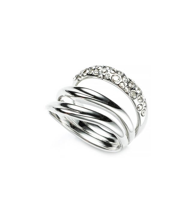 Alexis Bittar Liquid Rhodium Crystal Encrusted Draping Ring