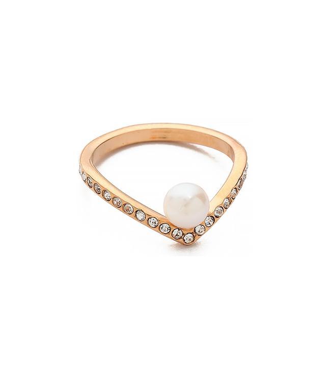 Vita Fede Ultra Mini V Pearl & Crystal Ring