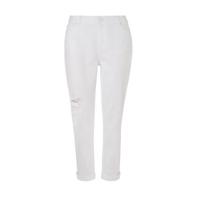 Whistles Distressed White Boyfriend Jeans