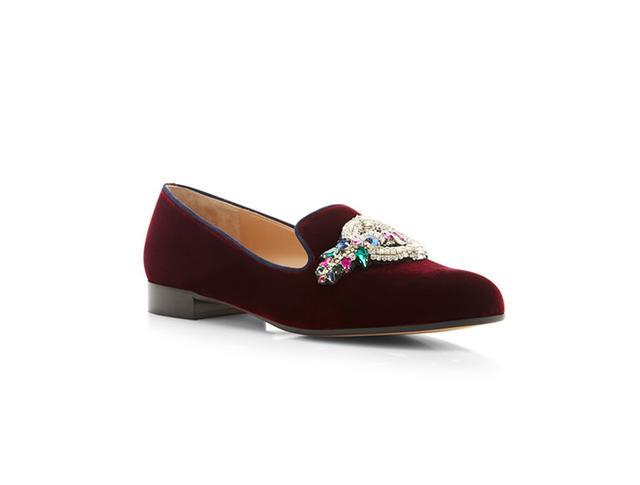 Mary Katrantzou Scott Emblem Embroidered Velvet Loafers