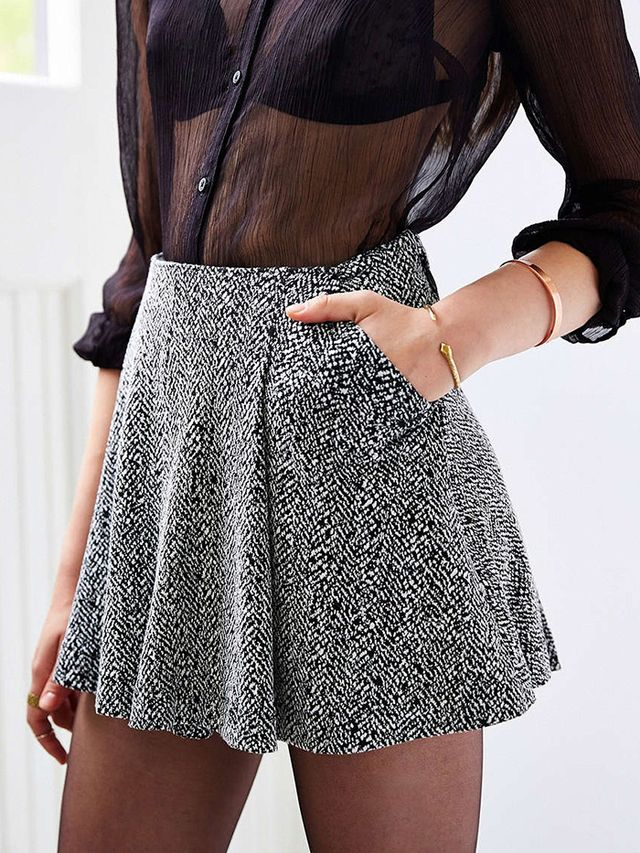 Silence + Noise Twiggy Menswear Pleated Mini Skirt