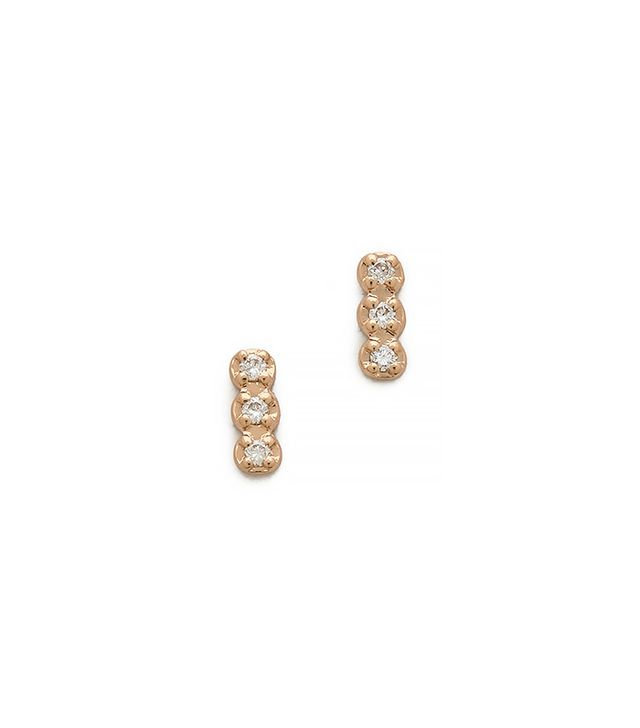 Ginette _ny Triple Diamond Stud Earrings