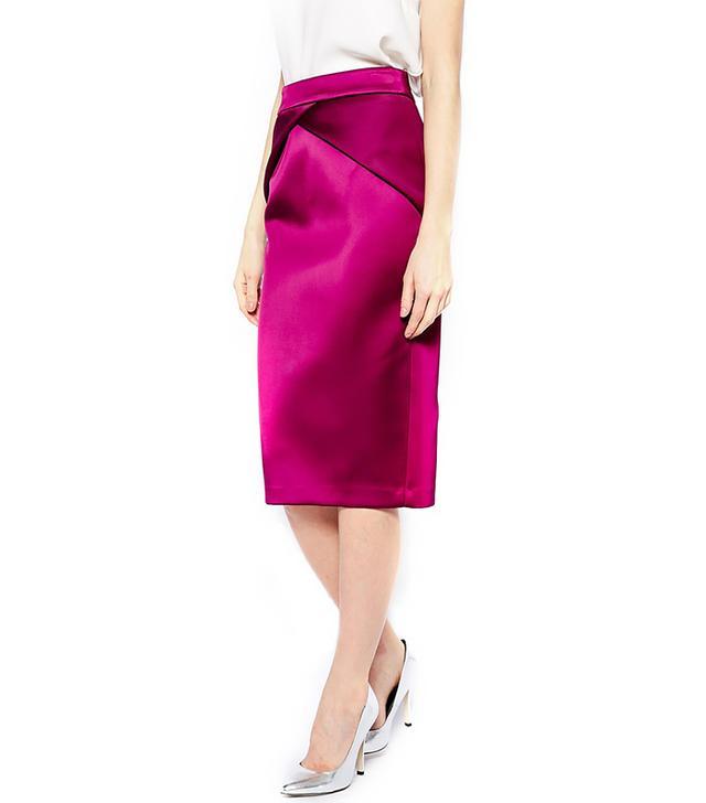 ASOS Premium Pencil Skirt in Bonded Satin