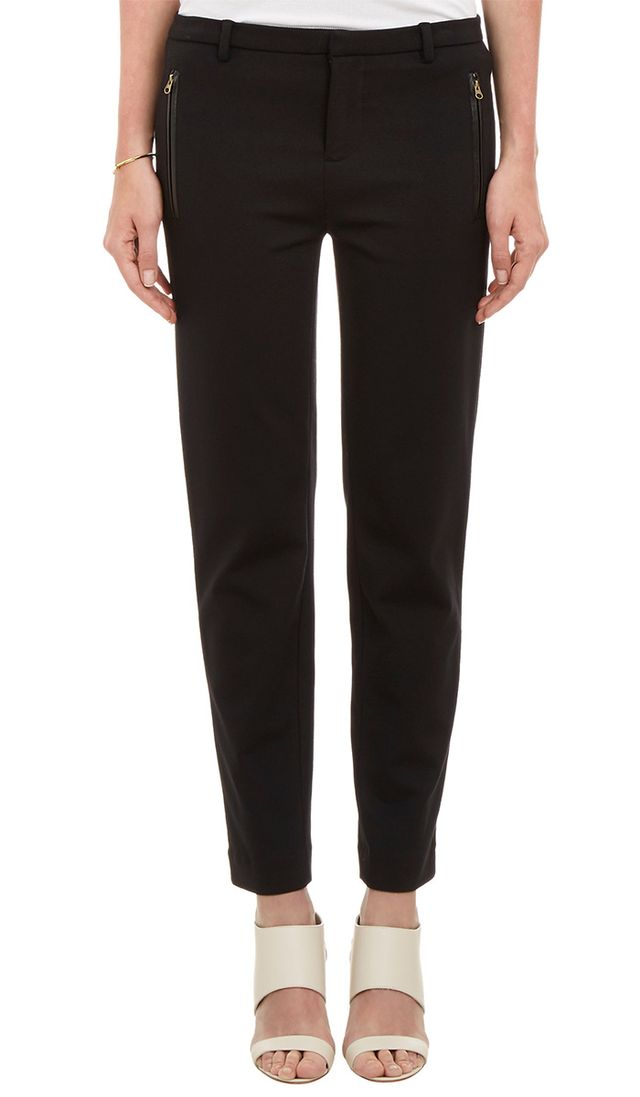 Vince Leather-Trimmed Ponte Slim Pants