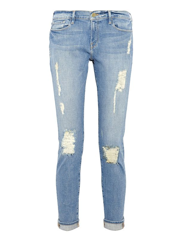 Frame Denim Le Garcon Distressed Slim Boyfriend Jeans