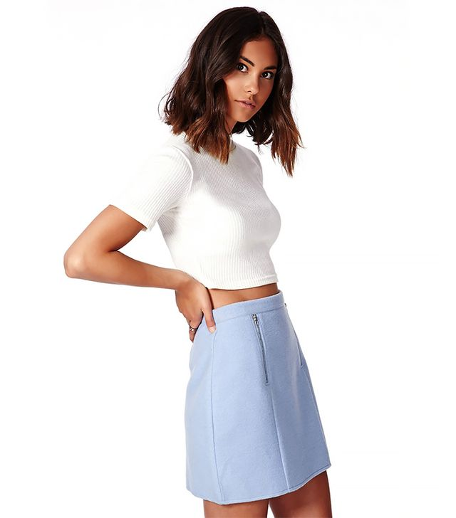 Missguided Beth Felt Zip Front A-Line Skirt