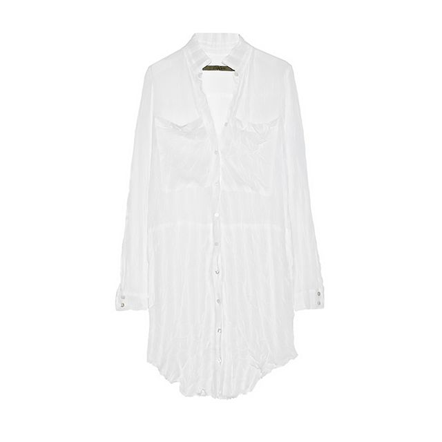 Enza Costa Crinkled Chiffon Shirt Dress