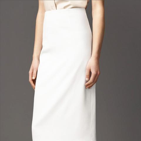Piqué Virgin Wool Blend Pencil Skirt