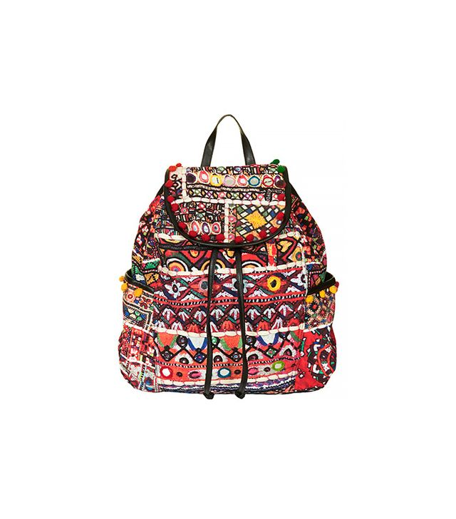 Topshop Cuzco Pompom Trim Embroidered Backpack