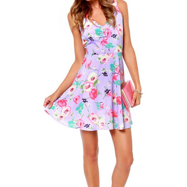 Lulu's Grand Poppy Lavender Floral Print Dress