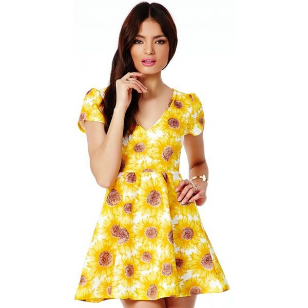 Missguided Luana Skater Dress in Sunflower Print