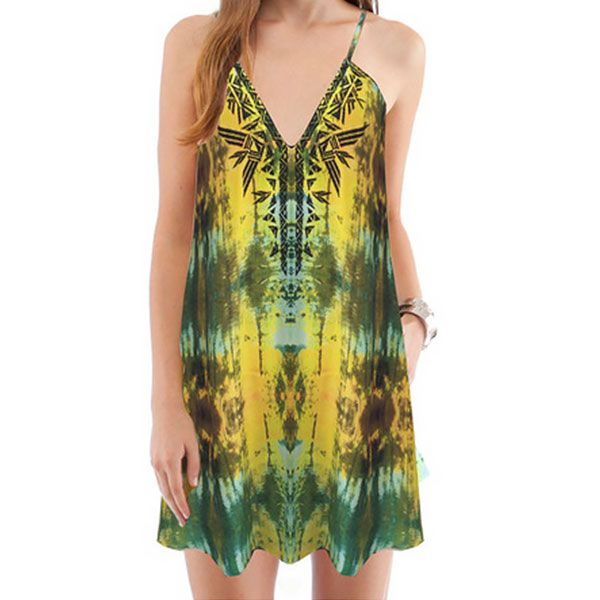 Cynthia Vincent Embroidered Mini Dress