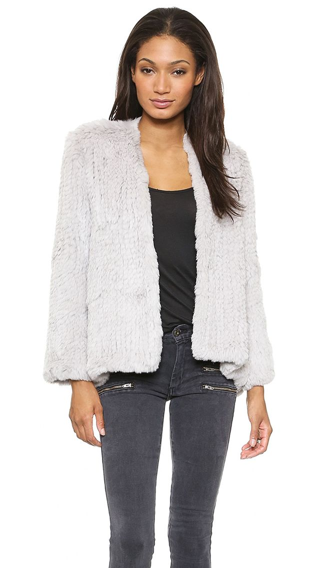 H Brand Emily Hand Knit Rabbit Fur Jacket