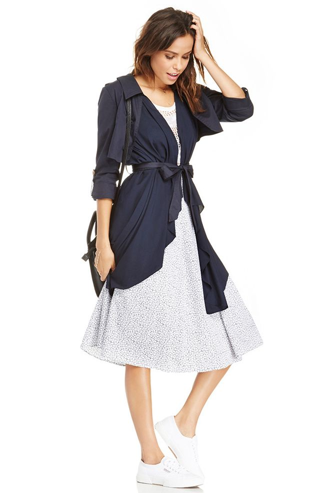 Line & Dot Flowy Trench Coat