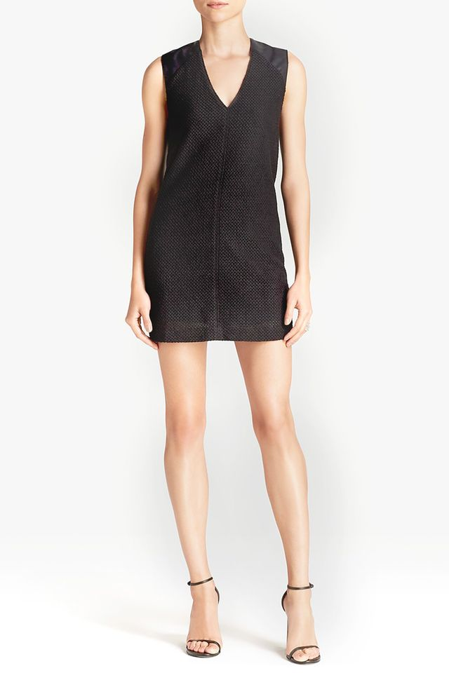 Addison Hayes Faux Leather Shoulder Dress