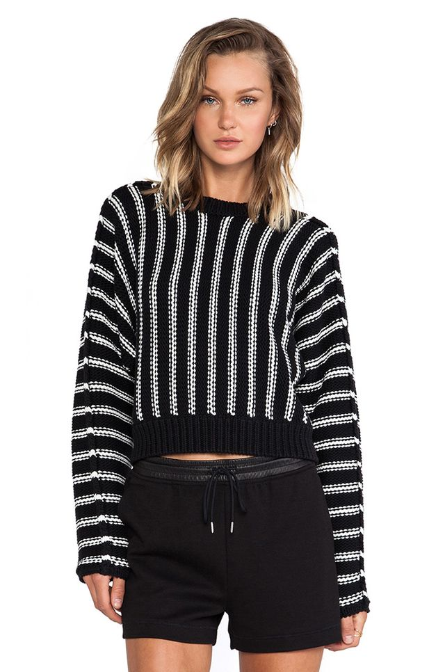 T by Alexander Wang Chunky Cotton Dolman Long Sleeve Sweater