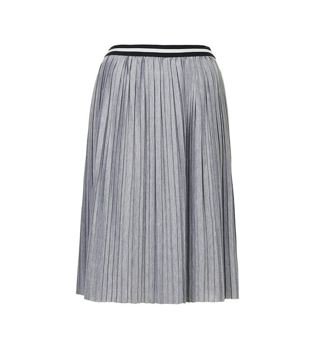 Topshop Jersey Pleated Sporty Midi Skirt