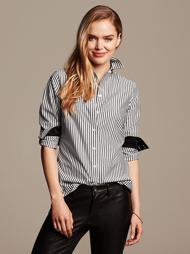 Banana Republic Fitted Non-Iron Striped Shirt