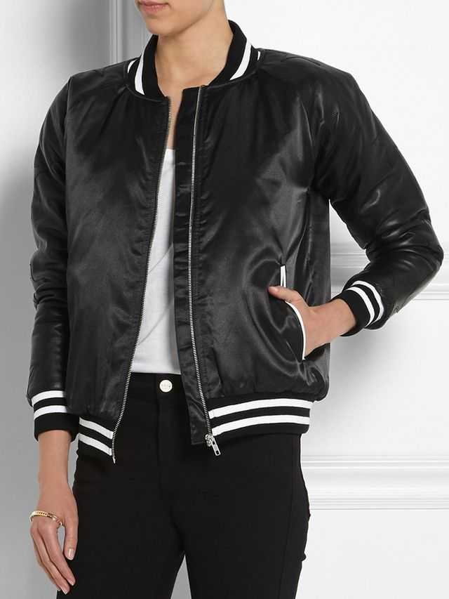 Zoe Karssen Leather-Paneled Satin Bomber Jacket