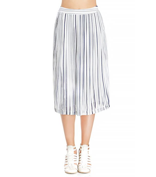JOA Striped Pleated Midi Skirt