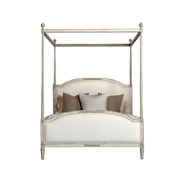Eloquence Dauphine Weathered White Linen Upholstered Bed