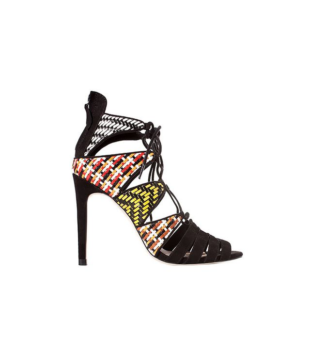 Zara Woven Ankle Boot Sandals With High Heel