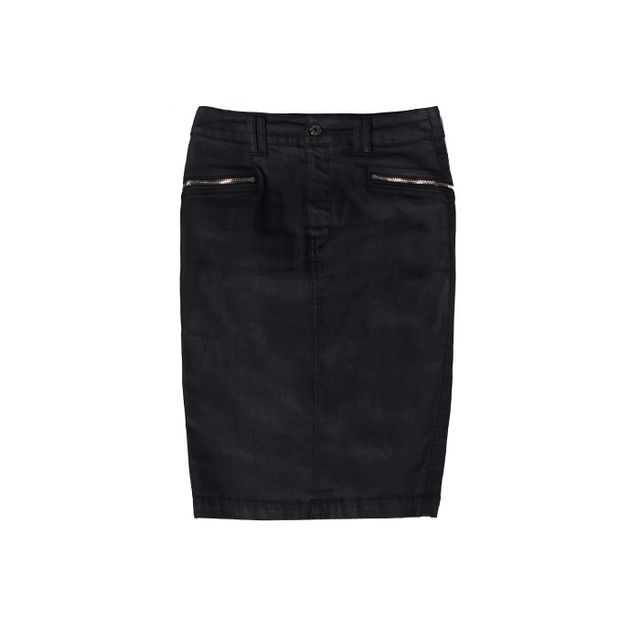 7 For All Mankind: High Waist Black Jeather Pencil Skirt with Zips 7 For All Mankind