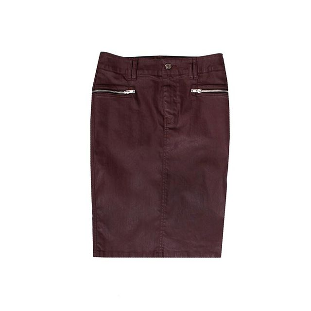 HW Burgundy Jeather Pencil Skirt with Zips 7 For All Mankind