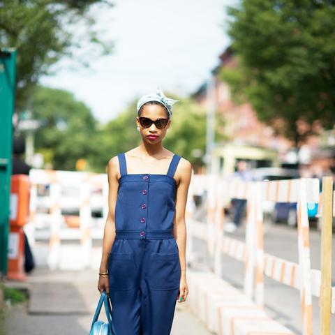denim jumpsuit street style