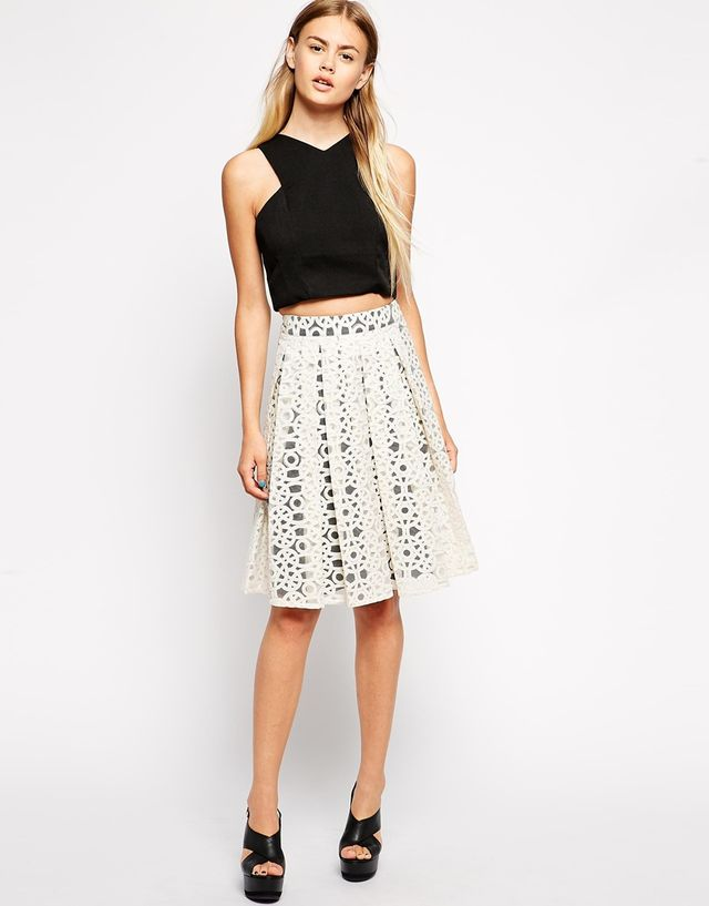 Asos Premium Midi Skirt in Embroidered Organza