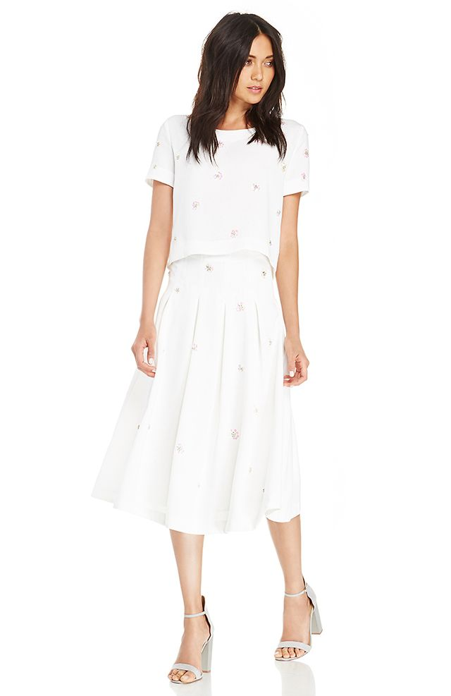 Joa Sequin Floral Midi Skirt