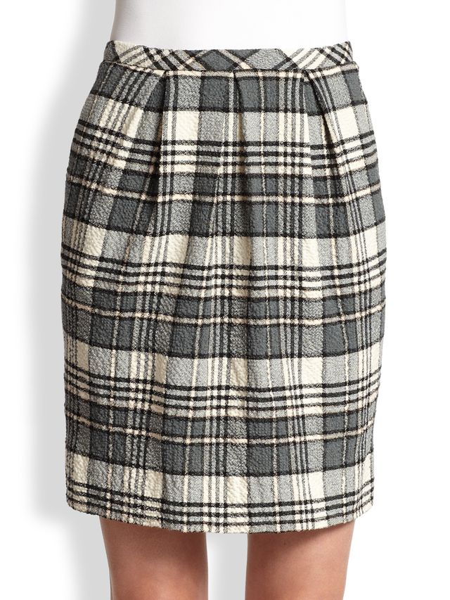 See by Chloé Pleat-Front Plaid Pencil Skirt